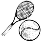 Tennis racket and ball sketch — Stock Vector