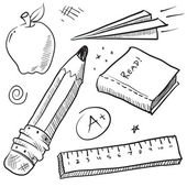 Back to school objects sketch — Stok Vektör