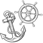 Anchor and ship's wheel sketch — Vettoriale Stock