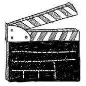 фильм установите с ' хлопушкой ' эскиз — Cтоковый вектор