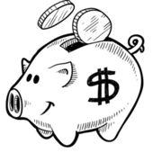 Piggy bank sketch — Stock Vector