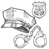 Police objects sketch — Stock Vector