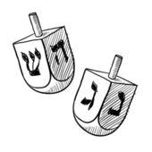 Schizzo dreidel ebraica — Vettoriale Stock