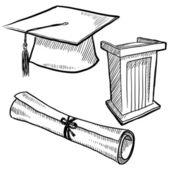 Afstuderen items schets — Stockvector