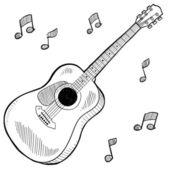 Acoustic guitar sketch — Stock Vector