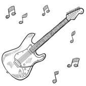 Электрическая гитара эскиз — Cтоковый вектор