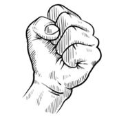 Clenched fist sketch — Stock Vector