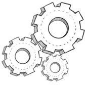 Industrial gears sketch — Stock Vector