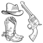 Cowboy objects sketch — Stok Vektör
