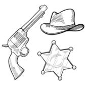 Wild West sheriff objects sketch — Stock Vector