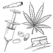 Illegal drugs vector sketch — Stock Vector