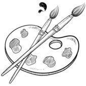 Artist's brushes and palette — Vetor de Stock