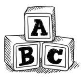 Alfabet bloki szkic — Wektor stockowy