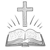 Bible and cross sketch — Stockvektor