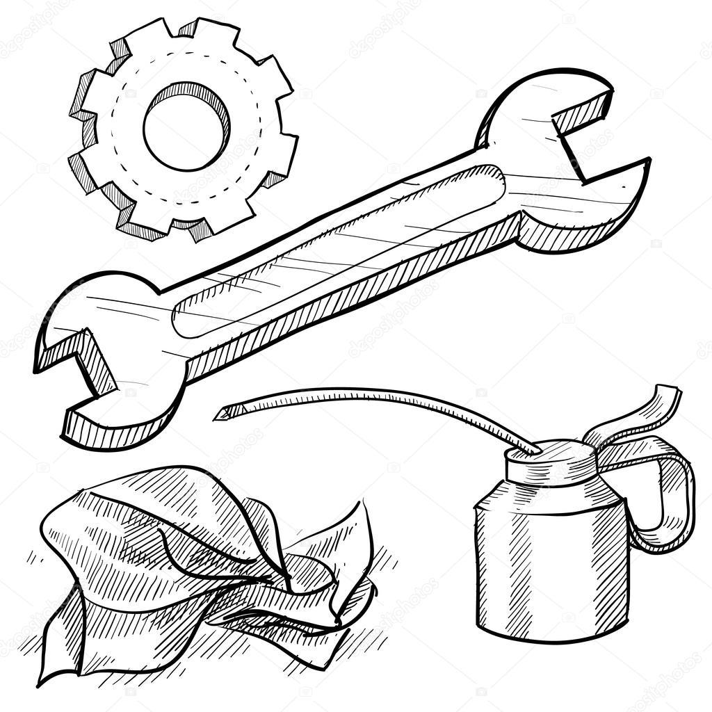 Line Drawing Tool : Car mechanics tools — stock vector lhfgraphics