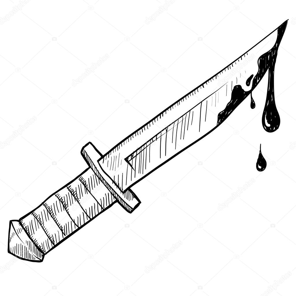 bloody knife sketch stock vector  u00a9 lhfgraphics 14136032 Bloody Knife in Heart Bloody Knife Place Setting