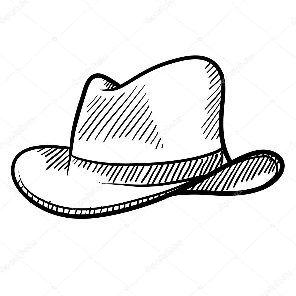 Cowboy Hat Sketch Doodle Style Cowboy Hat or