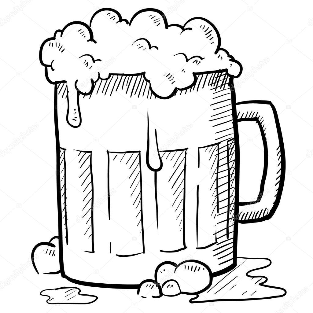 Croquis de chope de bière — Image vectorielle lhfgraphics ...
