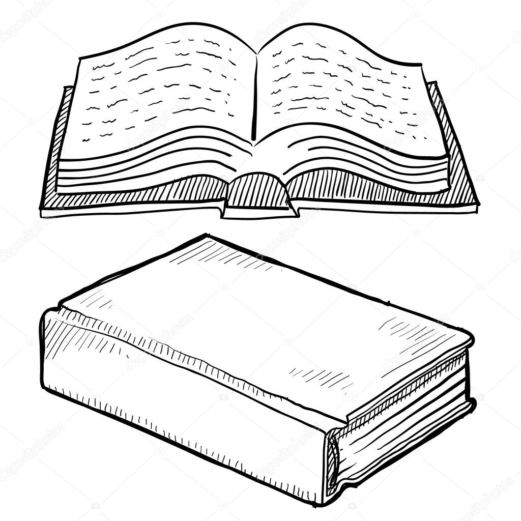 Library book or bible sketch stock vector lhfgraphics for Open bible coloring page