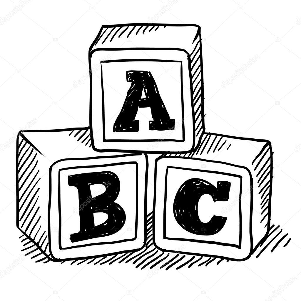 alphabet blocks coloring pages | Alphabet blocks sketch — Stock Vector © lhfgraphics #14136461