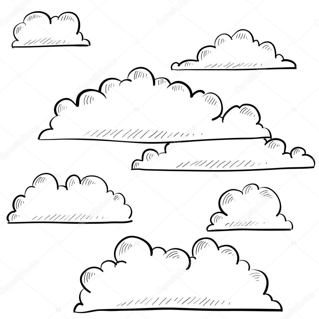 Line Drawing Clouds : Clouds sketch — stock vector lhfgraphics