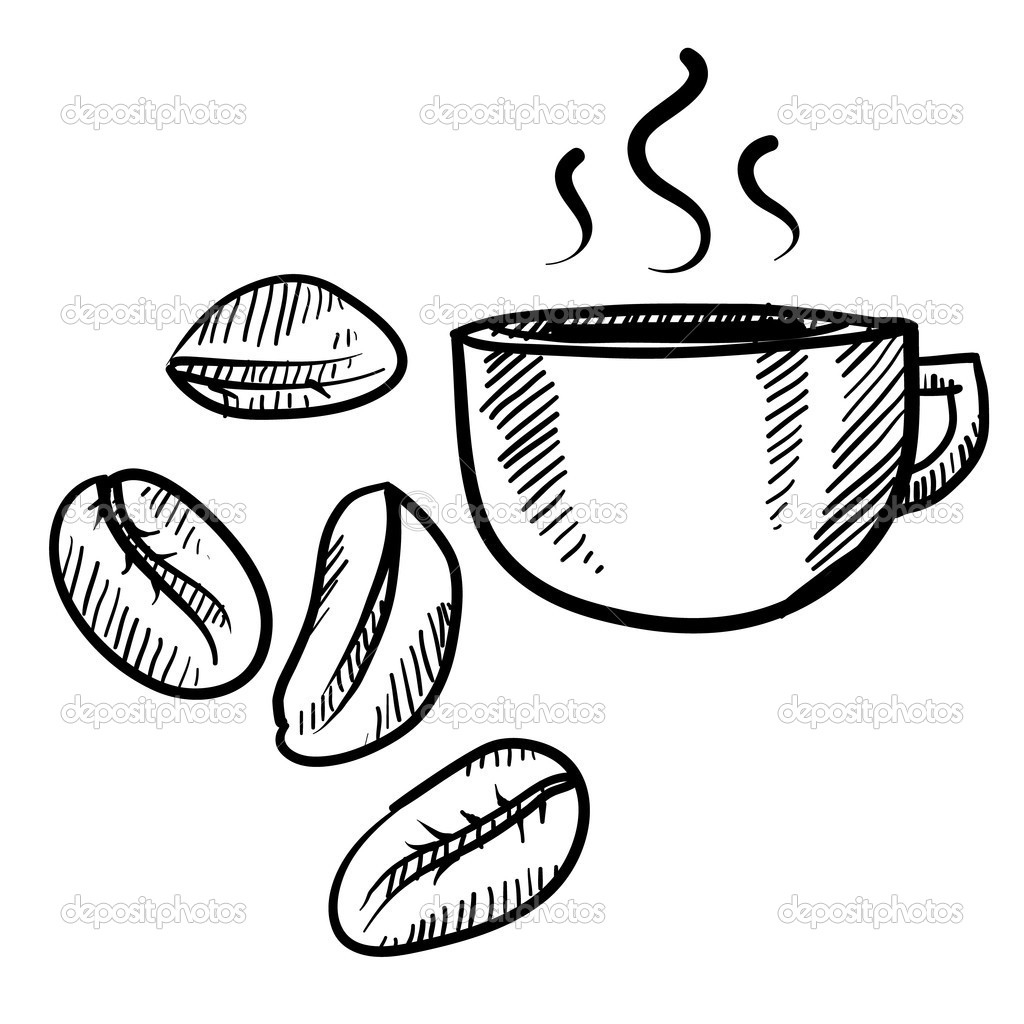 Coffee Bean Drawing Doodle Style Coffee Bean With