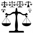 Stock Vector: Justice scales in vector silhouette