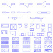 Blueprint symbols set — Stock Vector