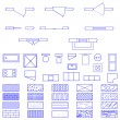 Blueprint symbols set - Stock Vector