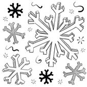 Winter snowflake sketch — Stock Vector