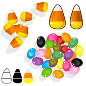 Candy corn and jelly beans sketch — Stock Vector