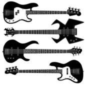 Bass guitars vector silhouettes — Stock Vector