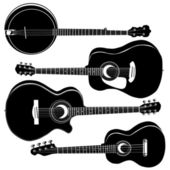 Acoustic guitars vector silhouettes — Stock Vector