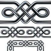 Seamless celtic rope vector borders and patterns — Stock Vector