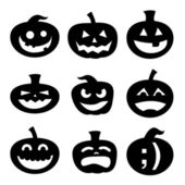 Halloween pumpkins assortment sketch — Stock Vector
