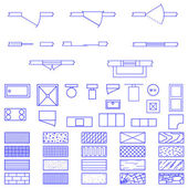 Blueprint symboler set — Stockvektor