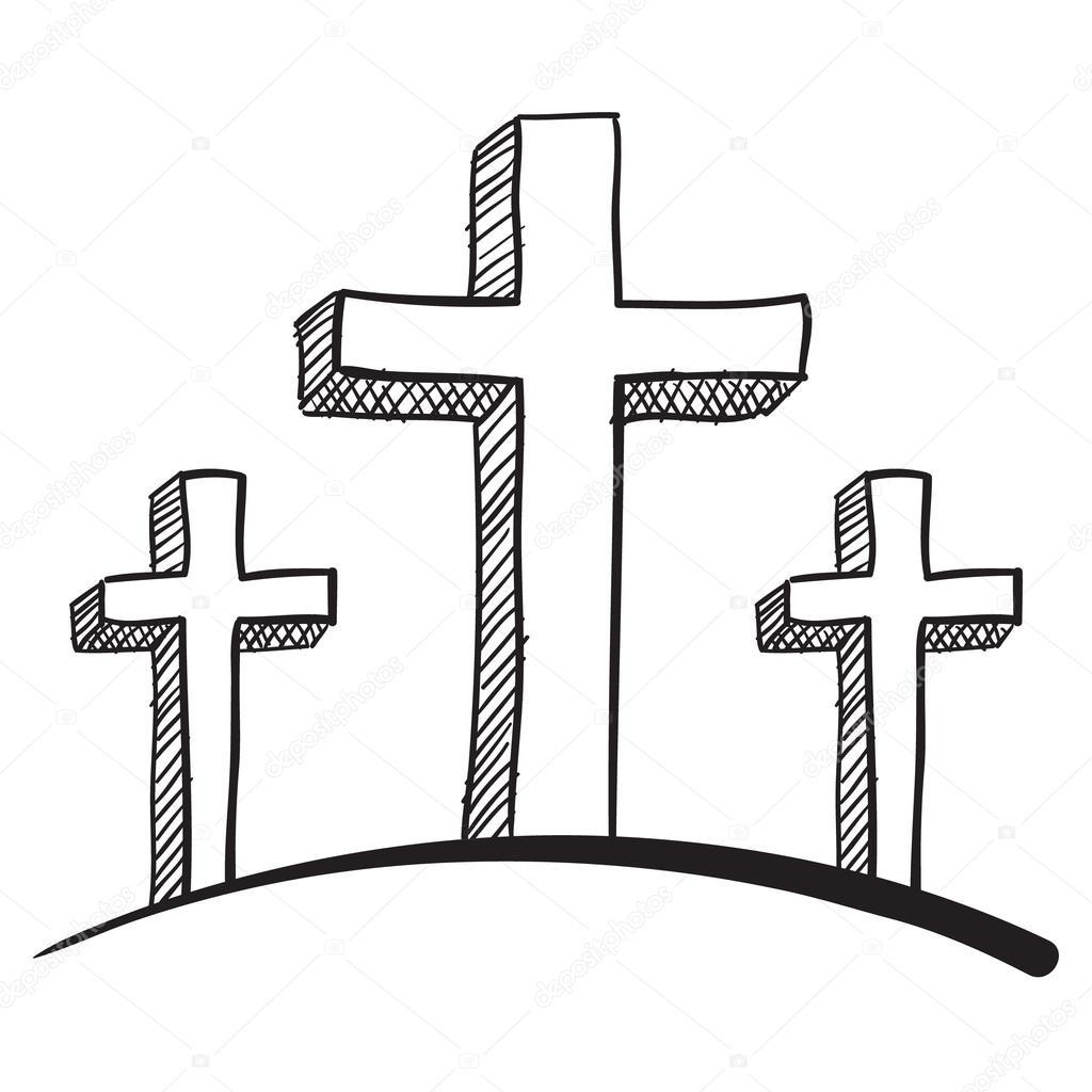 涂鸦风格十字架耶稣受难像矢量图– 图库插图