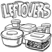 Holiday leftovers food sketch — Stock Photo