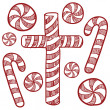 Candy canes and peppermints sketch — Stock Photo