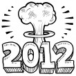Goodbye 2012 New Year apocalypse sketch — Stockfoto