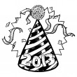 New Year's 2013 party hat sketch — Stock Photo