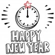 Happy New Year midnight clock sketch — Stock Photo