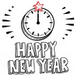 Stock Photo: Happy New Year midnight clock sketch
