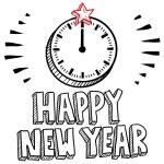 Happy New Year midnight clock sketch — Stock Photo