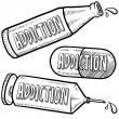 Drug and alcohol addiction sketch — Stock Photo