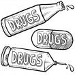 Drugs and alcohol sketch — Stock Photo