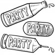 Party drugs and alcohol sketch — Stock Photo