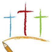Calvary crosses colored pencil sketch — Stock Photo