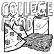 College food sketch - Stock Photo