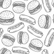 Seamless hamburger and hot dog vector background — Stock Photo #17215945